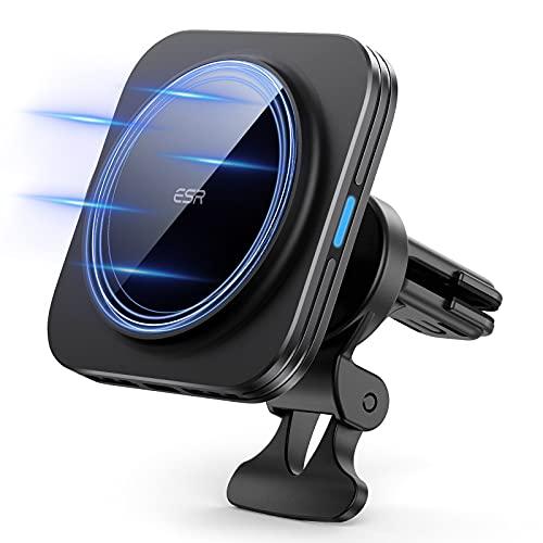 ESR Caricatore Wireless Auto Compatibile con iPhone 13/13 Pro/13 mini/13 PRO Max/12/12 Pro/12 mini/12 PRO Max,Supporto per Auto Magsafe,Ricarica Rapida,HaloLock Caricabatterie Wireless Magnetico,Nero