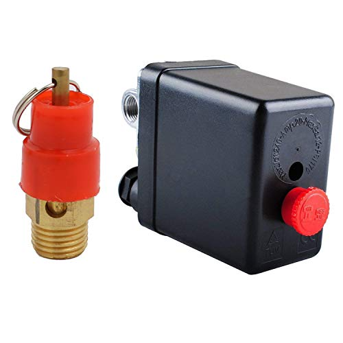 Central Pneumatic Air Compressor Pressure Switch Control Valve With 1/4'PT Thread Safety Pressure Relief Valve,Replacement Parts 90-120 PSI 4 Port 240V Air Compressor Pressure (1)