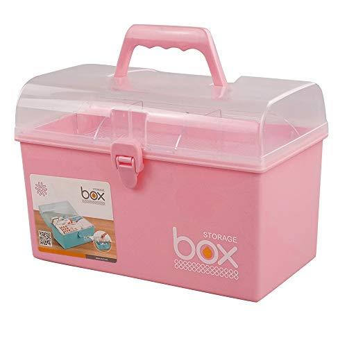 Mayish Botiquin de Primeros Auxilios Pequeño Caja de Medicamentos Botiquin Medico Caja Maquillaje Botiquín Metalico Caja Metalica de Plástico Pequeña Con Tapa, Color Rosa, 1 Paquete