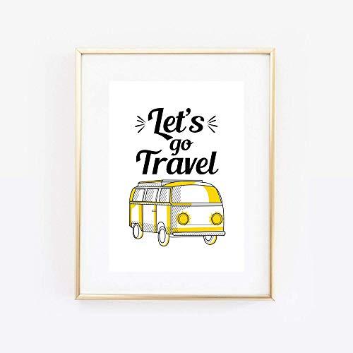 Kunstdruck Din A4 ungerahmt Spruch - Let's go travel - Urlaub Fernweh Reisen Bulli Caravan Camping Druck Poster Bild
