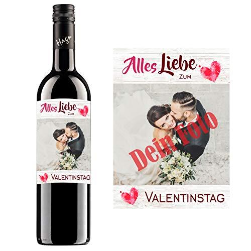 Personalisierter Wein zum Geburtstag, Valentinstag, Hochzeit, Muttertag, Jahrestag | Gestalte dein persönliches Geschenk | (Blauer Zweigelt, Liebe/Herzen)