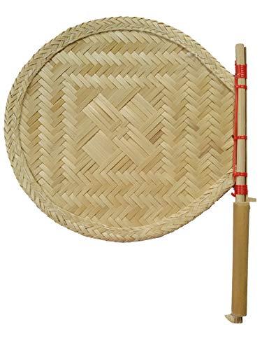 Das Departmental Store Bamboo Hand Held Fan (stick: 12 inch, pankha: 12 inch, Golden Yellow)