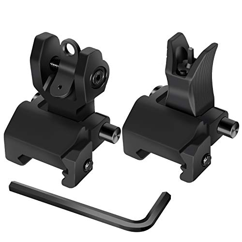 AWOTAC Tactical Flip Up Iron Sights Rapid Transition Front and Rear Backup HK Sights Fit Picatinny Weaver Rails