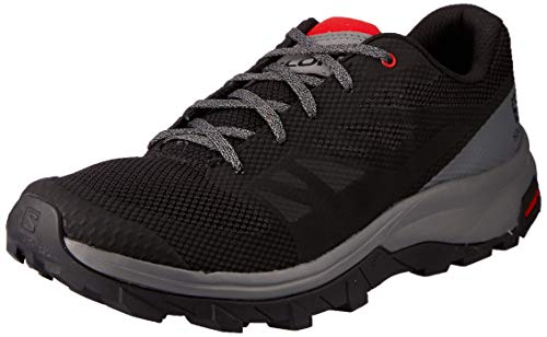Salomon Men's Outline Hiking Shoes, Black/Quiet Shade/High Risk Red, 10.5