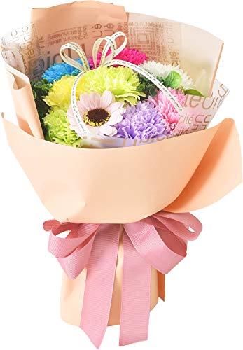 フレグランス シャボンフラワー ソープフラワーフラワーブーケ 造花 カーネーション 枯れない 花 プレゼント 母の日 父の日 出産祝い 結婚祝い お見舞い 誕生日 ギフト フラワーアレンジメント (レインボー)