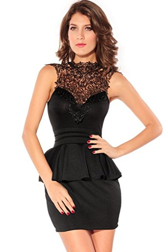 Dearlovers Women Hollow-out Back Peplum Party Dress Medium Size Black