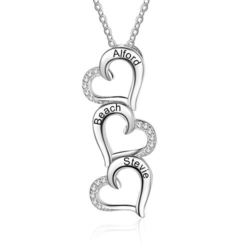 Personalisierte Halskette Silber 925 Damen Mutter Tochter Kette Herz Anhänger mit Namen Gravur Geschenk für Weihnachten Valentinstag (3 Herz)