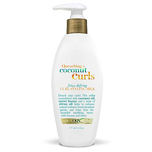 OGX Quenching + Coconut Curls Frizz-Defying Curl Styling Milk, Nourishing Leave-In Hair Treatment with Coconut Oil, Citrus Oil & Honey, Paraben-Free and Sulfated-Surfactants Free, 6 fl oz