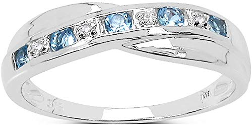 The Blue Topaz Ring Collection: Swiss Blue Topaz & Diamond Channel Set Crossover Eternity Ring in Sterling Silver (Size W)