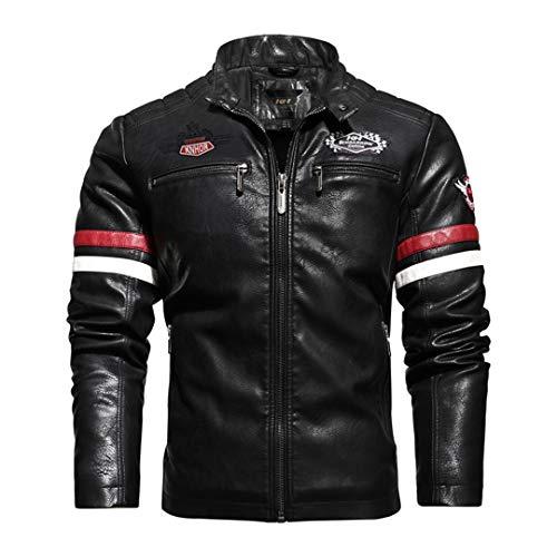 H-MetHlonsy Herrenjacke Motorrad Lederjacke Dünnschliff Hit Coat Casual Bestickte Lederjacke Black L
