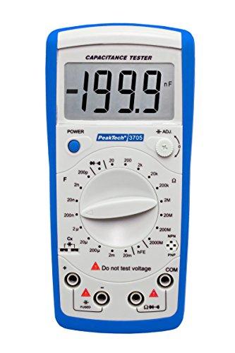 Peak Tech Digital Medidor de capacidad 20mF/óhmetro 2000Mohm/Continuidad/diodos prueba/transistor prueba HFE, 1pieza, P 3705