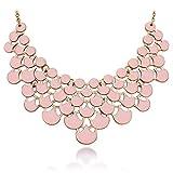 JANE STONE Fashion Statement Bulsh Pink Resin Bubble Frontal Bib Necklace Elegant Chunky Balance Jewelry for Women Teen Girls(Fn0968-Rose Quartz)