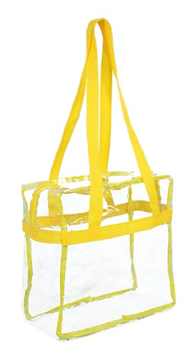 """Clear 12 x 12 x 6 NFL Stadium Approved Tote Bag with 35"""" Handles - Yellow Trim"""