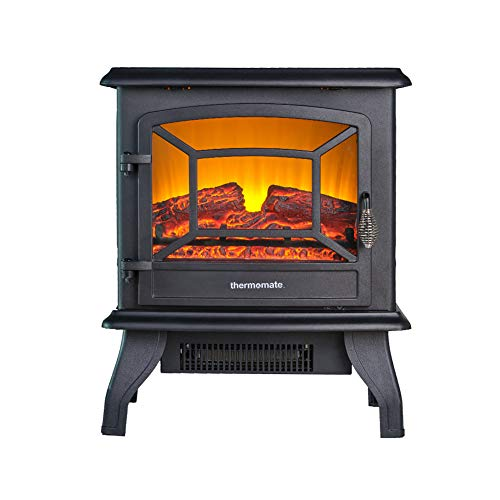 thermomate Electric Fireplace Stove, 20 Inches Portable Freestanding Fireplace with Thermostat, Realistic Flame and Logs Vintage Design for Home and Office, CSA Approved Safety.