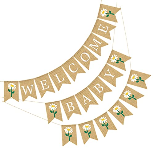 PRETYZOOM 1 Juego de Pancarta de Bienvenida de Girasol para Bebé con Patrón de Flores Banderines de Arpillera Banner de Cabina de Fotos Accesorios para La Decoración de Fiesta de Cumpleaños