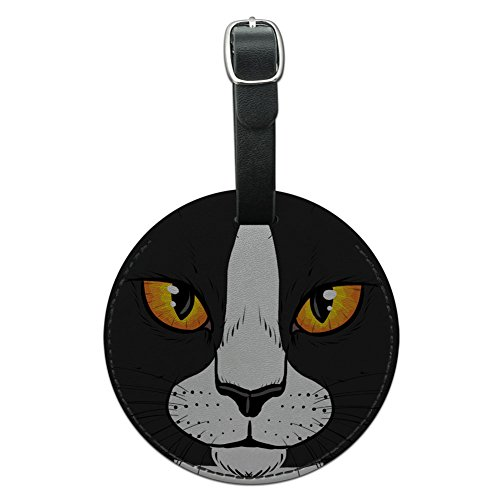 Graphics & More White Cat Face Pet Kitty Round Leather Luggage Id Tag Suitcase Carry-on, Black