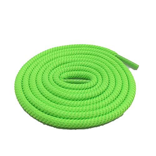 Shoelaces - Espiral redonda de poliéster para exteriores, montañismo, bootlaces, deportes, baloncesto, zapatillas, zapatillas, etc., (984 Fluoruence Green), 150