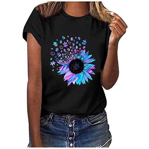 T-Shirt Damen Kurzarm Casual Sommer Lose Shirt Oversize Oberteile T-Shirt Bluse Frauen Casual Printing Kurzarm O-Ausschnitt Loose Tops (L,3schwarz)
