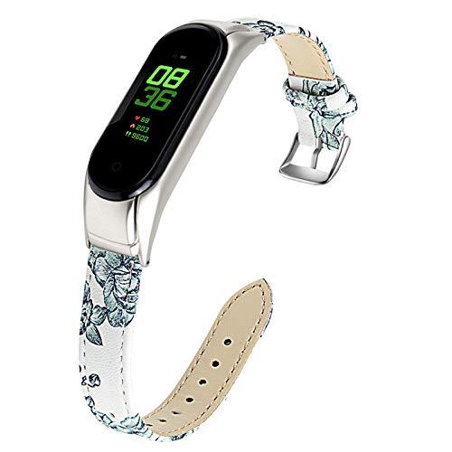 """MVRYCE Bande pour Mi Band 5, 5.5""""-8.0"""" (140mm-203mm) Bracelet en Cuir Véritable Bracelet de Sport Bracelet de Montre Bracelet en Cuir de Remplacement Mince Compatible pour Mi Band 5 (E)"""