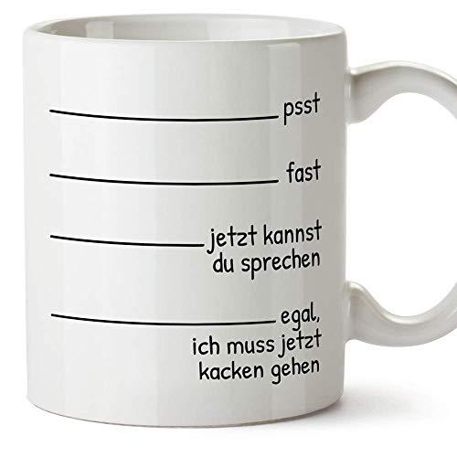 Mugffins Lustige Tasse - Egal, ich muss jetzt kacken gehen - Becher/Mug als witziges Geschenk - Keramik 350 mL