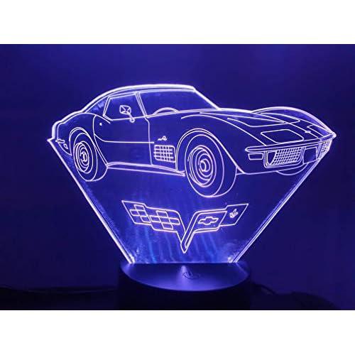CHEVROLET Corvette C3, Lampada illusione 3D con LED - 7 colori.