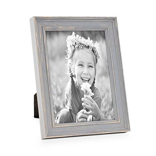 PHOTOLINI Bilderrahmen Skandinavischer Landhaus-Stil Grau-Braun 13x18 cm Massivholz mit Shabby-Chic Note/Fotorahmen/Wechselrahmen