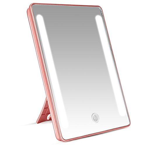 LEEPWEI 鏡 卓上 化粧鏡 LEDライト付き スタンド/壁掛け両用 卓上ミラー 明るさ調整可能 180度回転 USB/電池給電 新年プレゼント(ピンクゴールド)