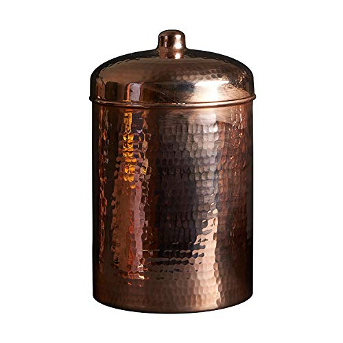 For Sale! Sertodo Copper Kitchen Canister, 3 quart Capacity, Solid Copper, Heavy gauge, Hand hammere...