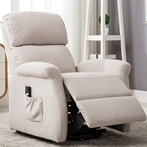 Bonzy Home Fabric Power Lift Recliner Chair for Elderly with Side Pocket,Single Sofa with Remote...