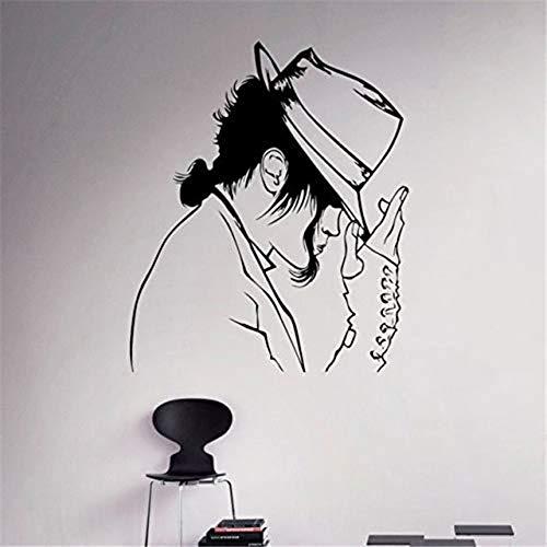 Wandaufkleber Mode Michael Jackson Muster mit seinem Hut Dacing der König der Pop-Art Wandbild entworfen Vinyl Home Decor [Größe: 57x65cm]