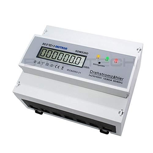 B+G E-Tech digitaler Drehstromzähler SDM530D für 3-Phasen-Wechselstromnetze, DIN Hutschiene mit LCD, S0-Schnittstelle 400V 80A CE-zertifizier