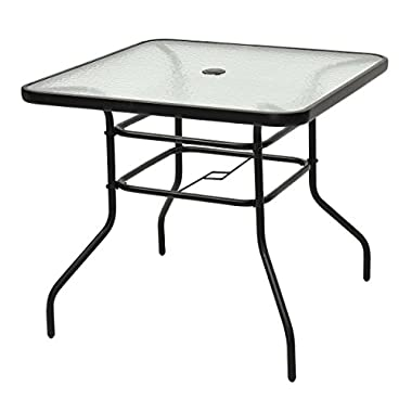 Tangkula 31 1/2  Square Tempered Glass Metal Table Outdoor Garden Pool Table