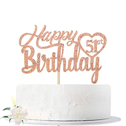 Rose Gold Glitter Happy 51th Birthday Cake Topper, Hello 51, Cheers to 51 Years Old, Fifty-one Years Old Party Decoration Supplies