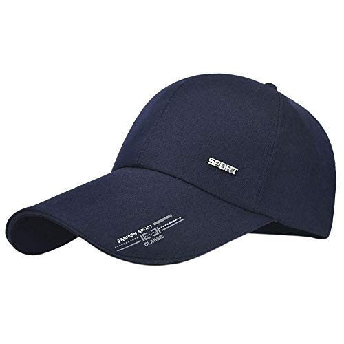 GUMONI Unisex Kappe Bedruckte Lange Krempe für Herren Damen Baseball Cap Segeltuch Trucker Mütze Sonnenblende Navy blau