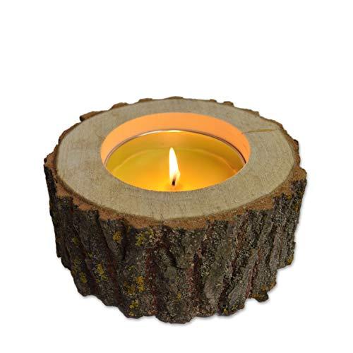 Berninja Citronella Outdoorkerze Gartenkerzen Kerze / ca. 8 Std. Brenndauer / der Kerzenständer aus Naturbelassenem Holz ist umweltfreundliches zu Recycling/ Tischfeuer XXL Teelicht Kerze Outdoor