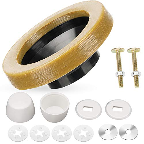 OIIKI 11 Pieces Toilet Wax Ring Kit with Bolts, Bolt Caps, Thick Flange and Retainer Washers for Toilet Bowl, Gas Odor and Watertight Sealing, Fits 3-inch or 4-inch Waste Lines