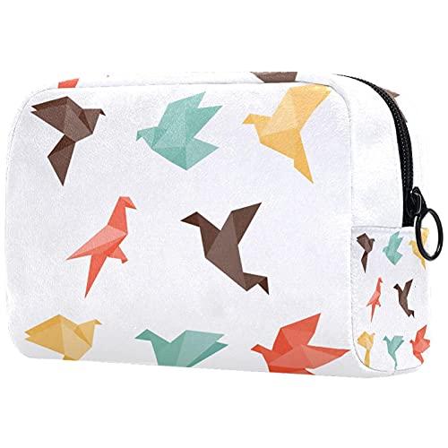 Organizador de maquillaje grande impermeable bolsa de aseo de viaje cosmética bolsa de aseo de viaje bolsa de cosméticos para mujeres y niñas Origami Birds-01