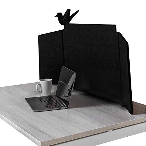 ECObird - Schreibtisch Trennwand - Organisieren, Personalisieren und Schützen Sie Ihren Arbeitsbereich, umweltfreundlicher Sichtschutz, 108 x 49 cm - Schwarz