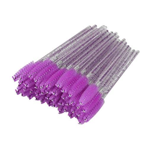 dailymall 50x Jetable Brosse à Cils Baguettes De Mascara Applicateurs De Maquillage - Violet