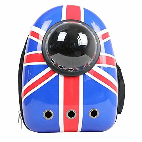 Zaino per gatti con bandiera del Regno Unito Hello Kitty frontale trasparente per animali domestici di piccola taglia, viaggio escursionismo e passeggiate