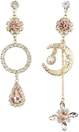 F3WJ Asymmetrical Circle Waterdrop Dangle Drop Earrings Rhinestone Luna Moon Clip on Earrings for Women Girls