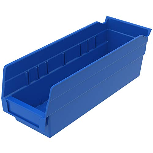 Akro-Mils 30120 Plastic Nesting Shelf Bin Box, (12-Inch x 4-Inch x 4-Inch), Blue, (24-Pack)