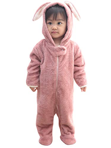 Sweet Mommy ベビー くまさん うさぎさん 着ぐるみ ロンパース ジャンプスーツ カバーオール 防寒 フード付...