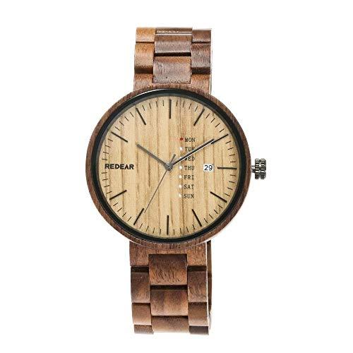 Orologio da uomo Reloj de Madera: Reloj Deportivo Industrial de Alta Gama Hecho a Mano, Calendario de Cuarzo, Salud, Romance, acompañante (Color : E)