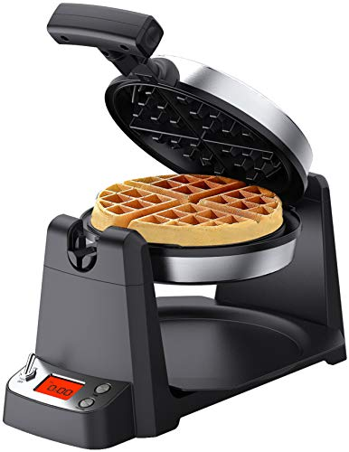 Elechomes Flip Belgian Waffle Maker with LCD Display 14quot Thick Waffles 180° Rotating Waffle Iron Digital Timer NonStick Coating Plates Removable Drip Tray Recipes Included Stainless Steel