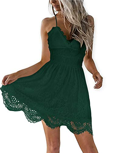ZANZEA Women¡¯s Spaghetti Strap Mini Dress V-Neck Backless Sleeveless Lace Skater Dresses Party Club Beach Mini Short Dress A-Dark Green S
