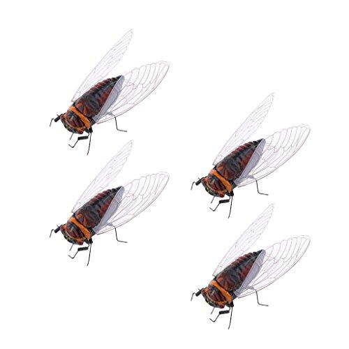 Sharplace Aimant de Réfrigérateur Figurines Cicada Réaliste en Clay Pot Jardin Décoration - Cicada 4pcs