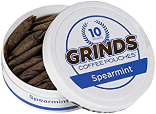 Grinds Coffee Pouches   6 Cans of Spearmint   Tobacco Free, Nicotine Free Healthy Alternative   18 Pouches Per Can   1 Pou...