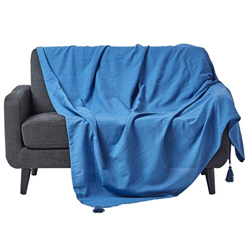Homescapes–Rajput Gerippter Überwurf/Tagesdecke–Handarbeit100 % Baumwolle–Geeignet für die meisten 1-, 2- oder 3-Sitzer-Sofas–Tagesdecke für Einzel-, Doppel-, Kingsize-Betten–Einfach zu pflegen, kann zu Hause gewaschen werden., baumwolle, blau, 255 x 360 cm