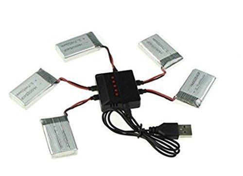 YUNIQUE Italia 5 Pezzi Batterie Lipo Ricaricabili (3.7v, 720 mAh Lipo) + Caricatore 5-1 per Rc Droni Quadricotteri Syma X5 X5C X5SC X5SW, Cheerson CX-30W, Skytech M68; Wltoys F949